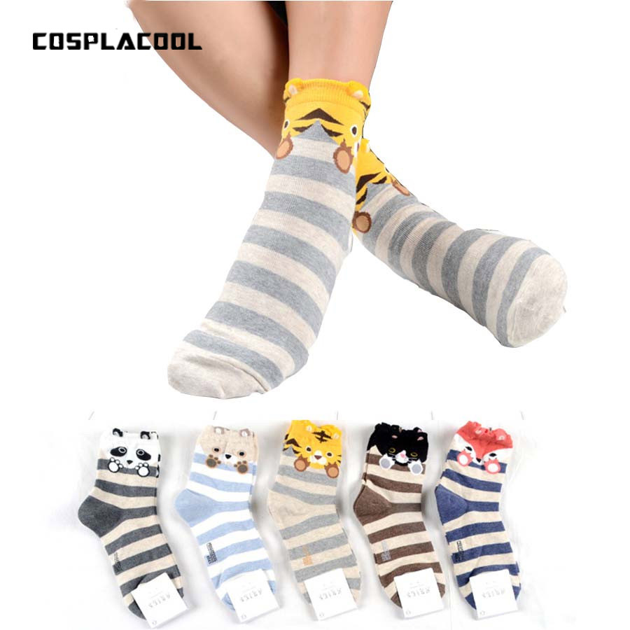 [COSPLACOOL]New Design Cute Cartoon Socks Striped Pug Pattern Socks Women Cotton Socks Winter Animals 3D Calcetines Sox Meias