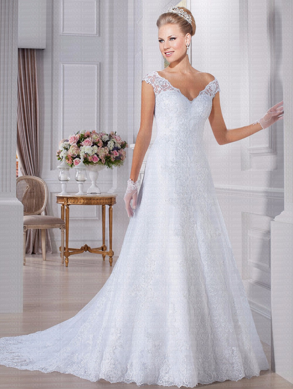 Vestido De Noiva With Sequins Amazing Appliques Wedding Dresses 2019 V-neck Bridal Gowns Robe De Mariee
