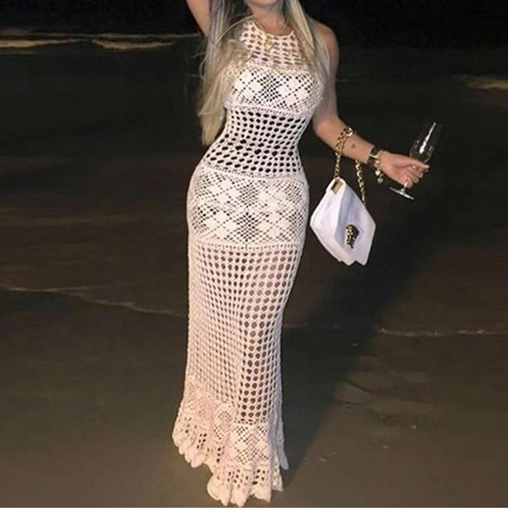 2020 Women Crochet Cover Up Bikini Swimwear Knit Hollow Out Beach Dress Swimsuit Solid Perspective Tunic Kaftan Beach Sexy Pareo
