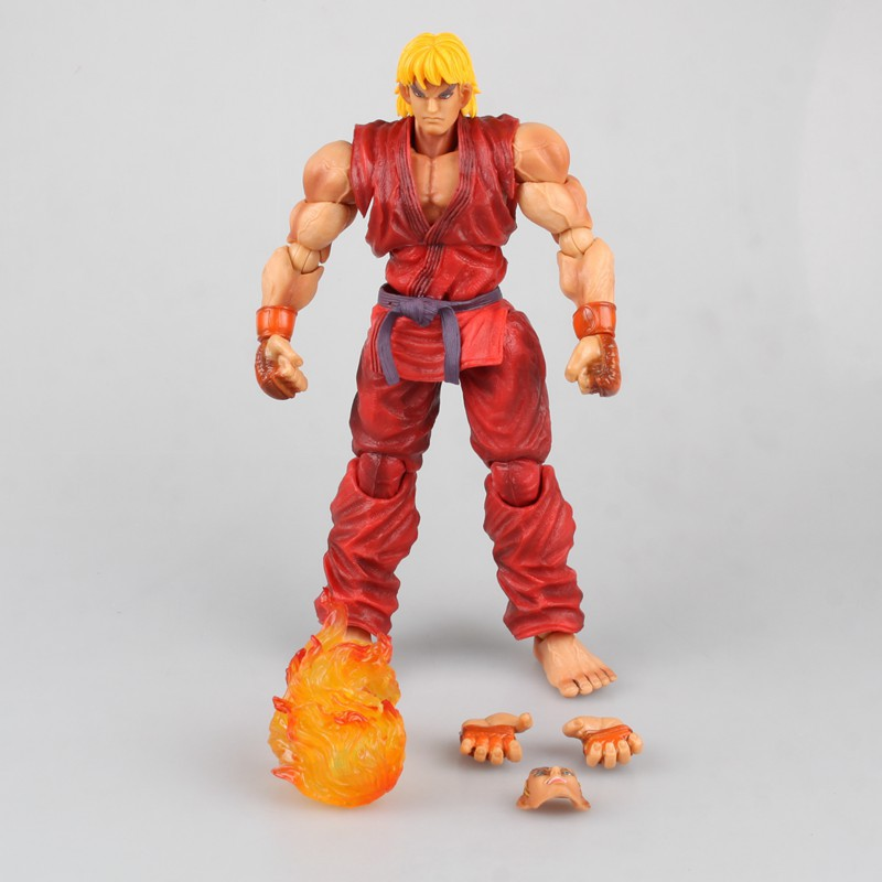 SAINTGI Street Fighter Ken Animated Action Figure Game toys PVC 23CM Model kids toys Collection saintgi street fighter v chun li bigboystoys with light action figure game toys pvc 16cm model kids toys collection