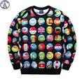 Mr.1991 молодежная мода 3D флаг emoji печатных толстовки мальчики подростки Весна Осень тонкие кофты большие дети бегуном sportwear W15