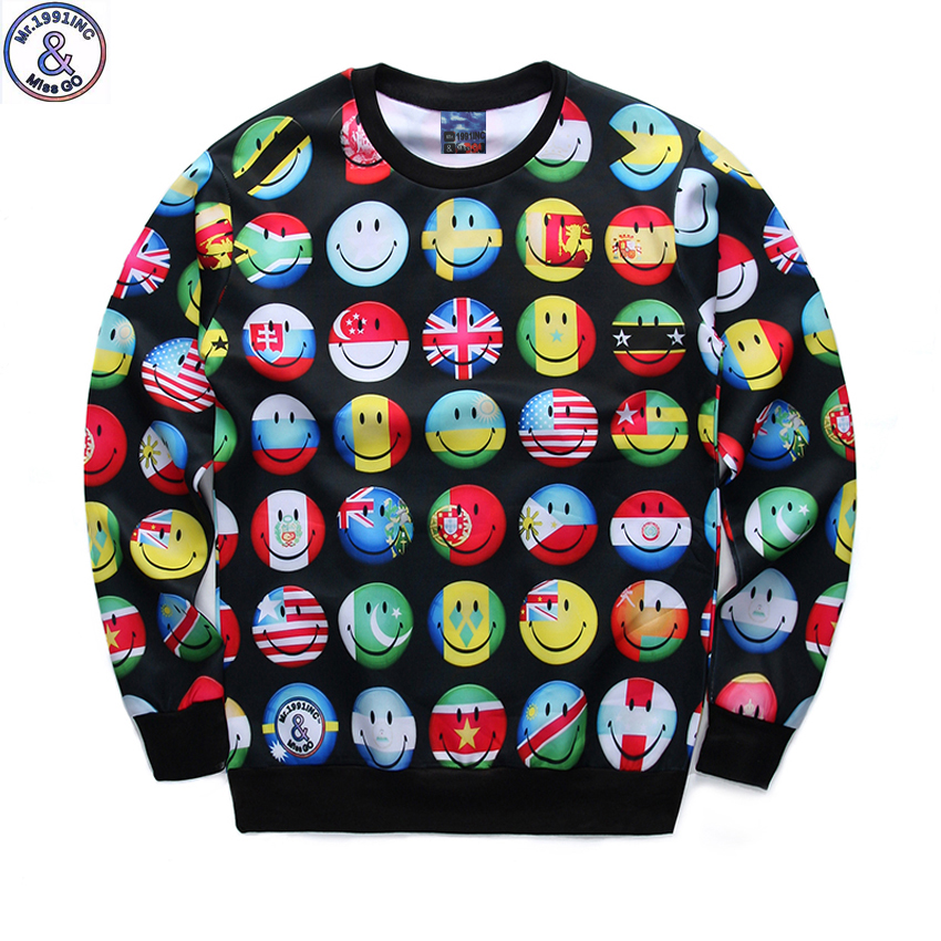 new arrive youth fashion 3D flag emoji printed hoodies boys teens Spring Autumn thin sweatshirts big kids jogger sportwear W15