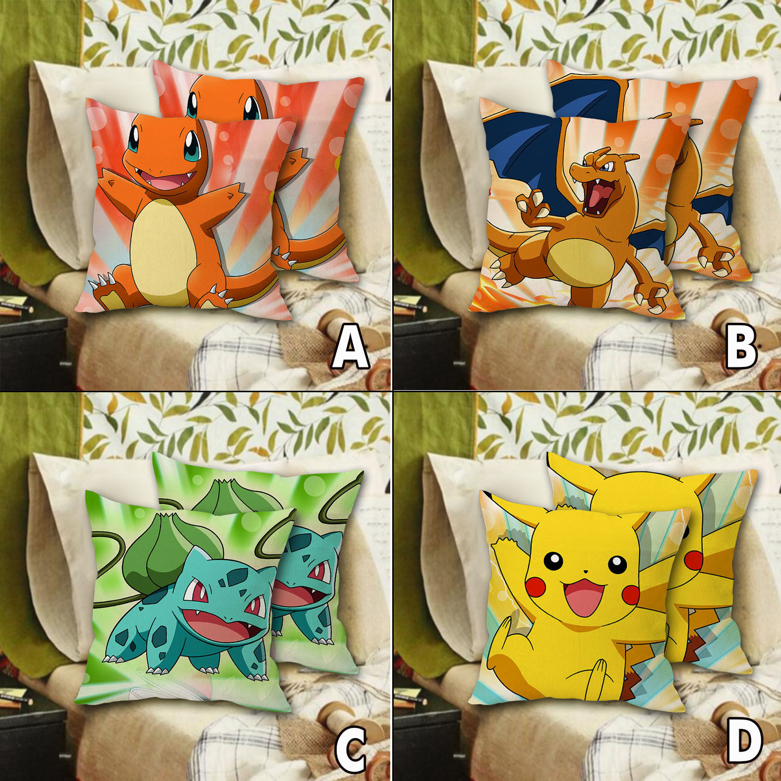 "16"" Anime For Poke Fans PM Monster Pikachu/Charmander/Bulbasaur Cushion Pillow Case Cover Home Costume Decor Accessory Gift"