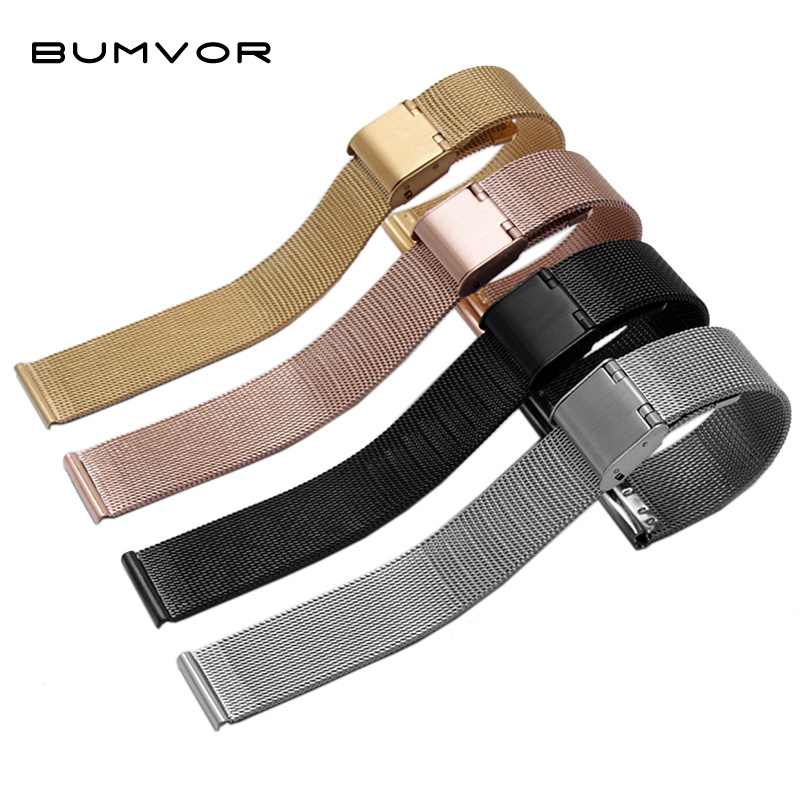 Milanese Watchband 12mm 14mm 16mm 18mm 20mm 22mm 24mm Universal Stainless Steel Metal Watch Band Strap Bracelet Black Rose Gold