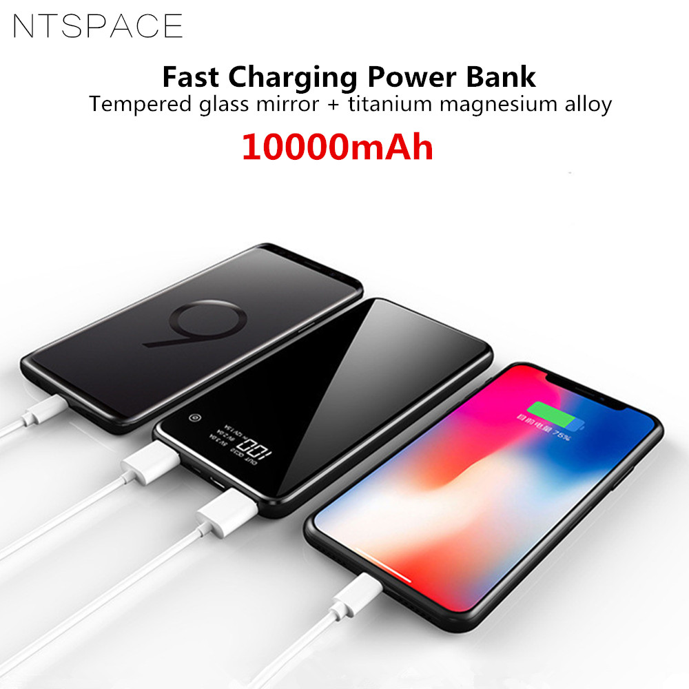 10000mAh Ultra Thin Mirror Power Bank For iPhone Xiaomi Dual USB Fast Charging Powerbank Protable Travel External Battery Charge