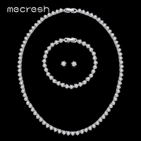 Mecresh Round CZ Wedding Jewelry Sets Classic Design Silver Color Bridal Necklace Earrings Bracelets Sets For