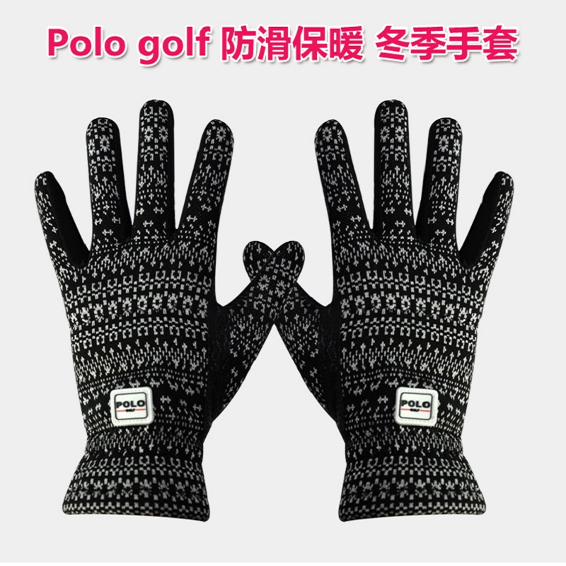 POLO Golf Non-slip Gloves Pair Women Outdoor Sports Gloves Plus Cashmere Warm Autumn And Winter Hands Ladys Soft Cotton Gloves