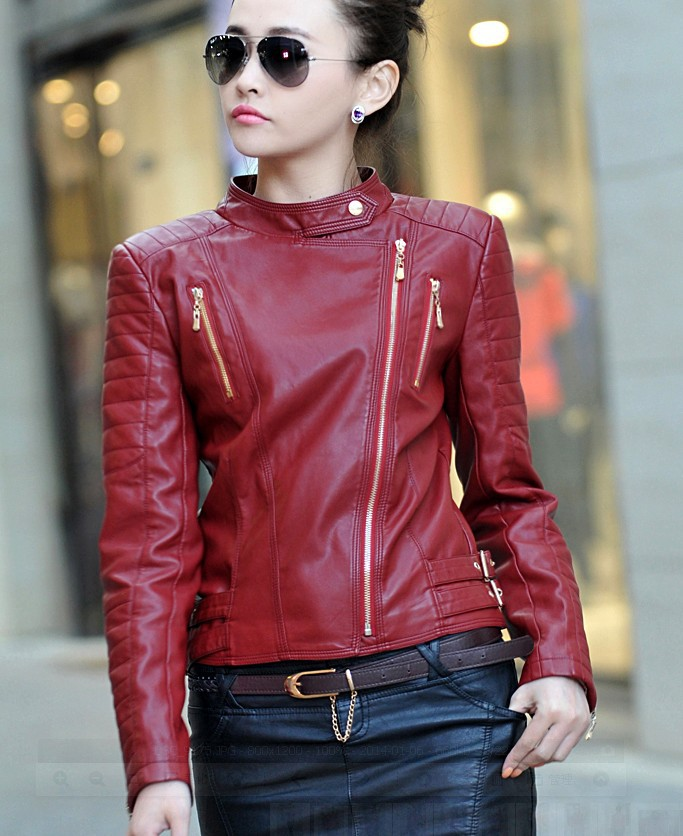 Popular Girls Red Faux Leather Jacket-Buy Cheap Girls Red Faux