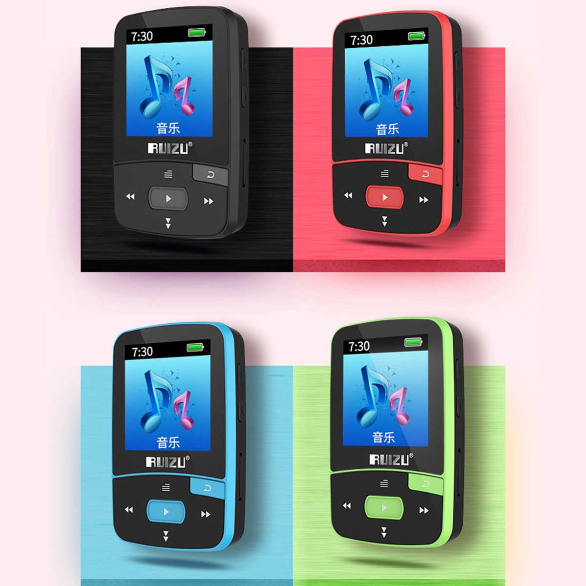 Ruizu X50 Спорт Аудио Мини Bluetooth Mp3 плеер аудио Mp 3 с радио цифровой Hi-Fi Экран Fm Flac Usb 8 Гб без потерь