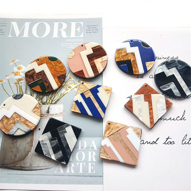Round Square Fashion Unique 2pcslot Bright Acrylic Imitate Marble Texture Coin-shape Charms for EarringJewelry DIY ET52 (7)
