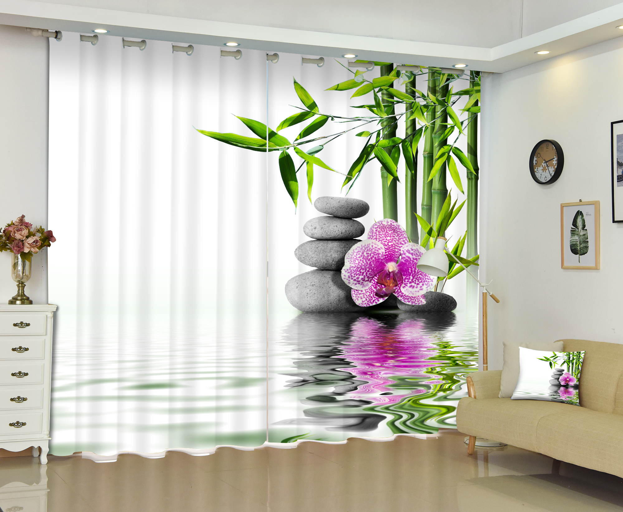 3D Bamboo Water Artistic Conception Photo Window Curtain Customized Size for Living Room Bedding Room Hotel