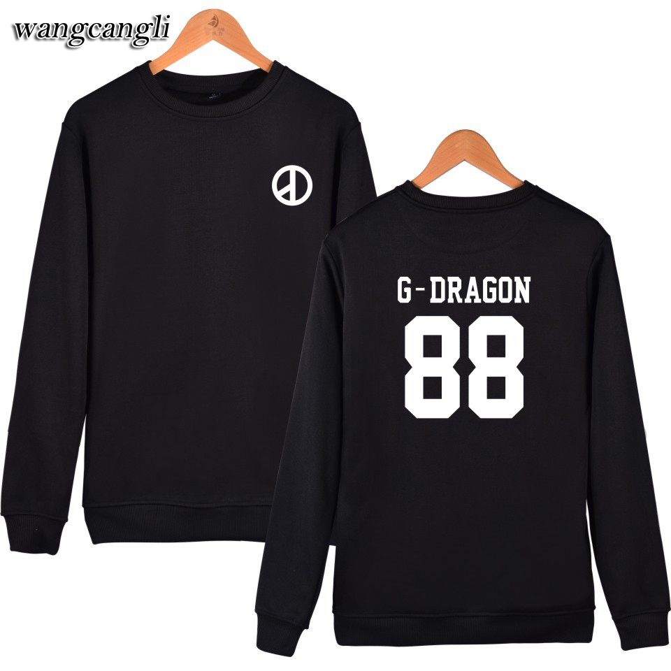 Bigbang G-Dragon Hoodies Men/women 2018 autumn winter harajuku hoodie Hip Hop Black Sweatshirt And Plus Size Men tracksuit Tops