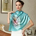 Water Blue Women Silk Scarf Shawl 178*52cm Female Autumn And Summer Pure Silk Brand Scarves Wraps Mulberry Silk Long Silk Cape