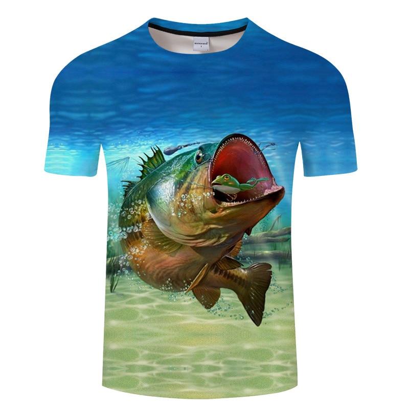 Новая футболка для рыбалки, стильная повседневная футболка с цифровым 3D принтом рыбы, мужская и женская футболка, летняя футболка с коротким рукавом и круглым вырезом, Топы И Футболки S-6XL - Цвет: TXKH1215