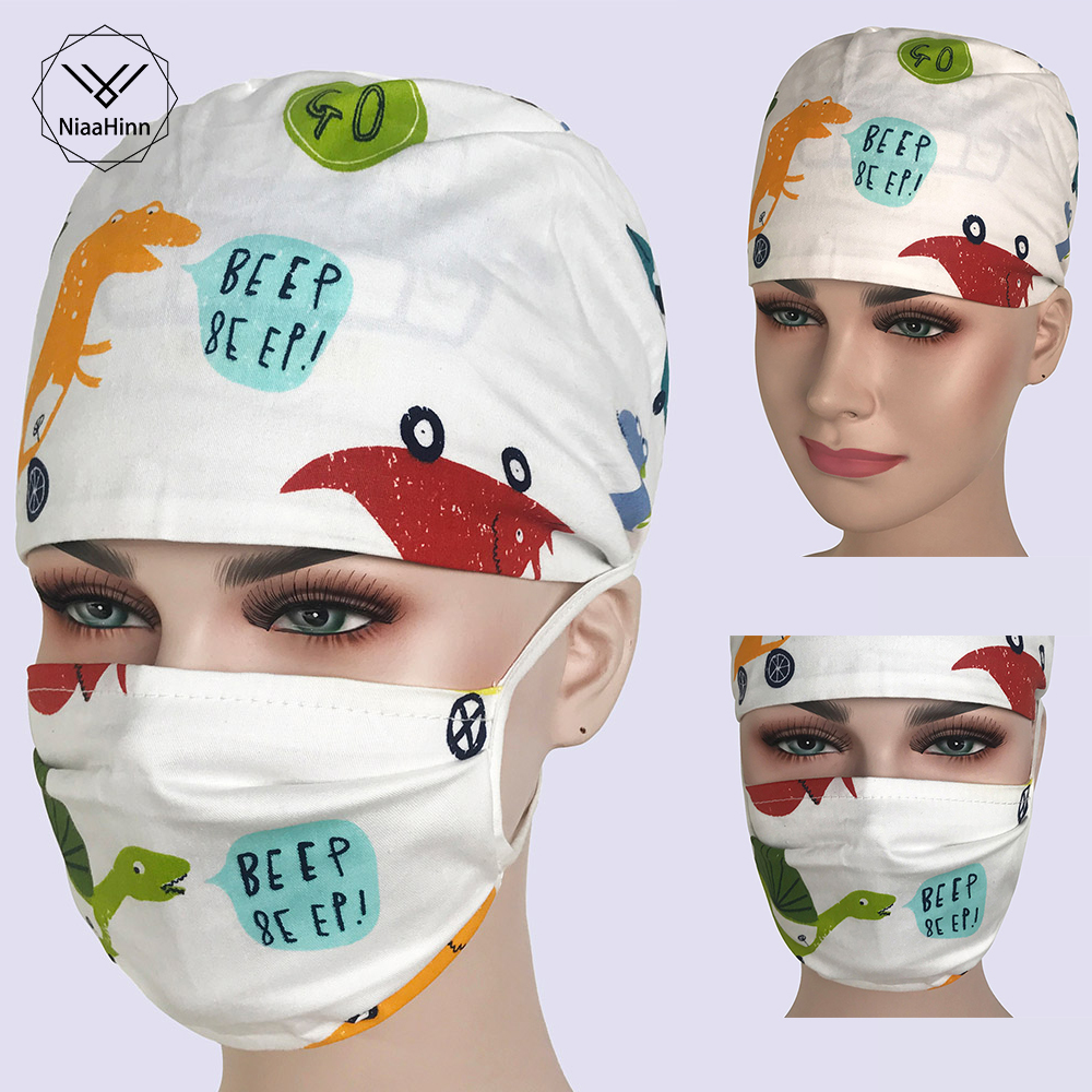 Womens Surgical Caps For Doctor Nurses Printing Operating Room Surgery Scrub Hats Adjustable Tie Back Cap Surgeon Hat And Mask