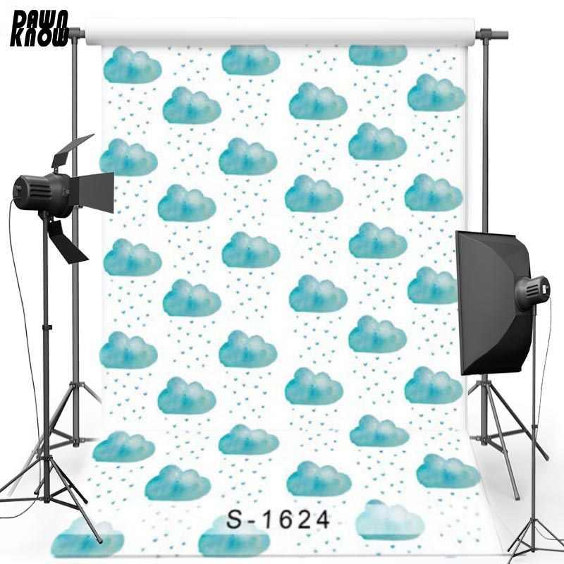 Виниловый фон для детской фотосъемки с изображением облаков и дождя из