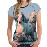 FORUDESIGNS 3D Crazy Horse Print T Shirt Women Elastic Soft T Shirt Harajuku Feminine Shirts Animal