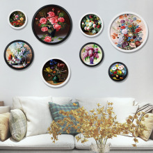European classical living room bottle in flower decorative painting Sofa wall creative plant round