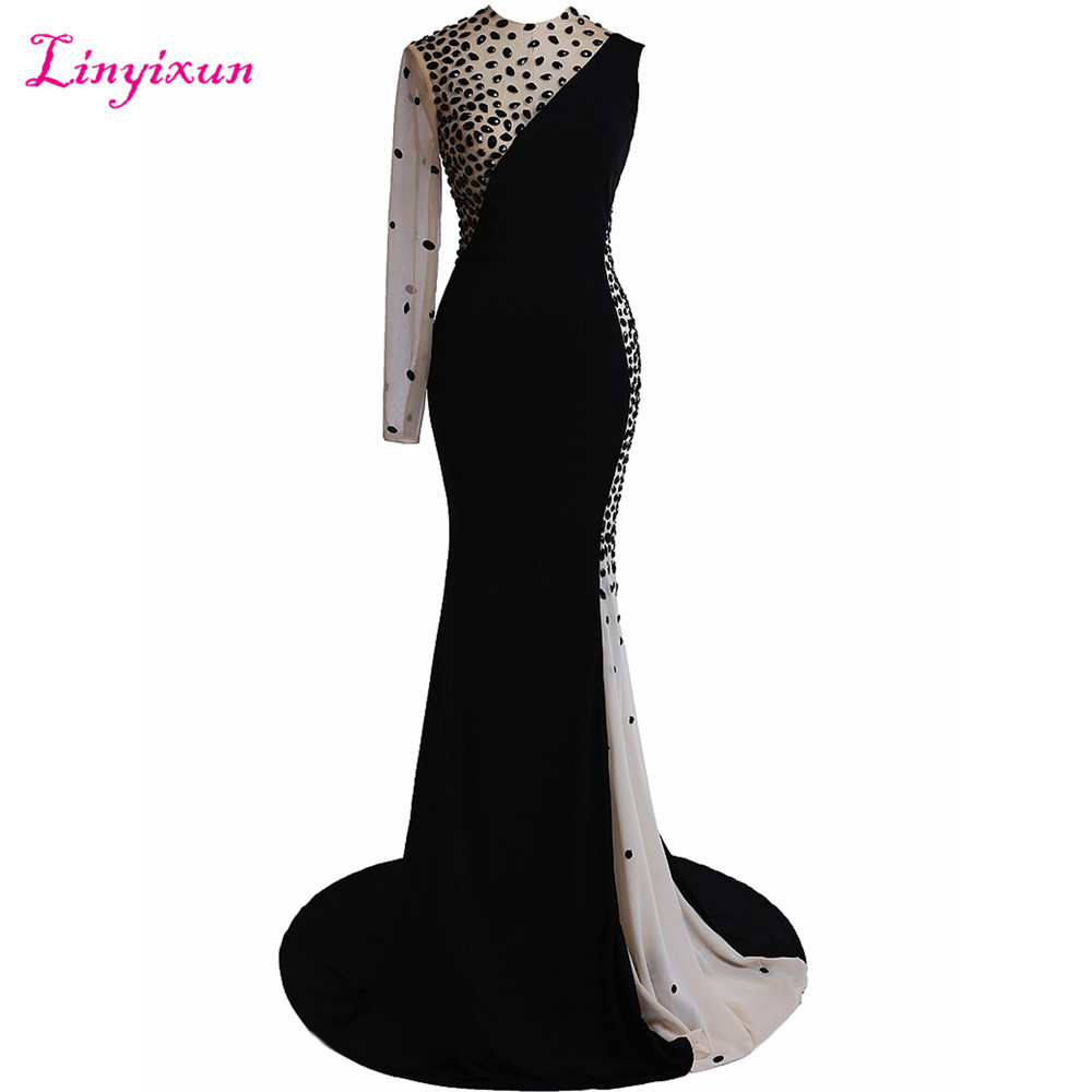 Linyixun Real Photo   Prom     Dress   2017 Pageant   Dress   Black White Wedding Party   Dress   Scoop Beaded Sweep Train Evening   Dresses