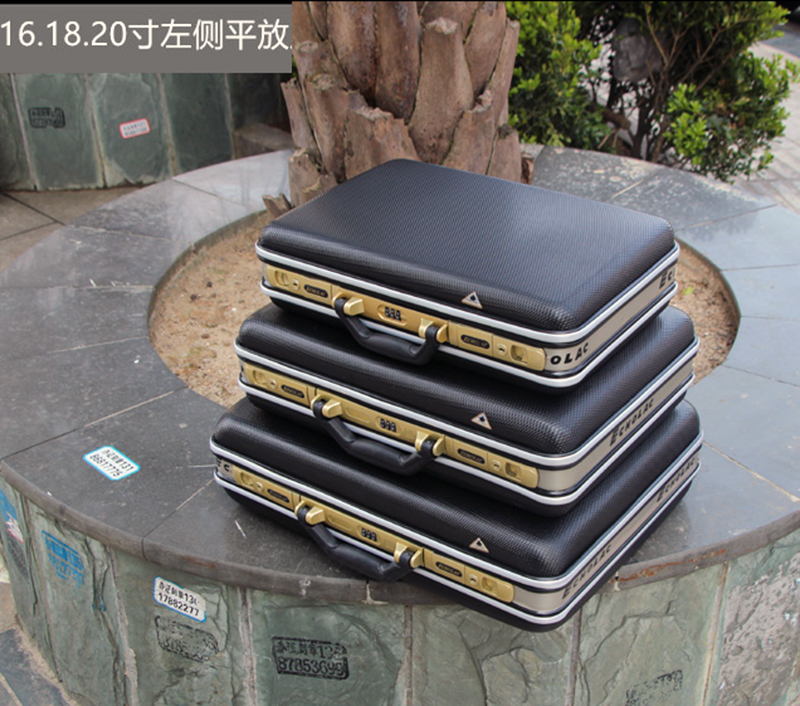 Aluminum Tool case suitcase toolbox password box File box Impact resistant safety case equipment camera case with pre-cut foam Price $27.00