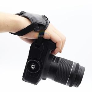 Image 4 - جلد طبيعي المعصم اليد حزام أسود جلد كاميرا اليد حزام قبضة عالية الجودة الثلاثي SLR/DSLR كاميرا جلدية حزام لينة