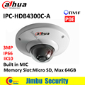 DAHUA POE cámara domo IPC IPC-HDB4300C-A 3MP IR 30 m Incorporado MIC Ranura de Memoria Max 64 GB CMOS de cámaras de seguridad ip IK10 mini