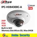 DAHUA POE câmera dome IPC IPC-HDB4300C-A 3MP IR 30 m Embutido MIC câmera de segurança IP Slot de Memória Max 64 GB CMOS IK10 mini