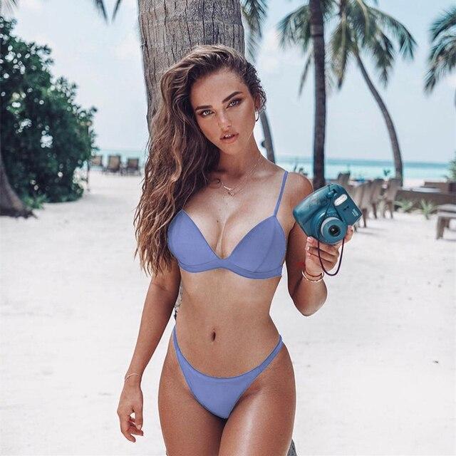 Vestido de baño Bikini sexy unicolor 1