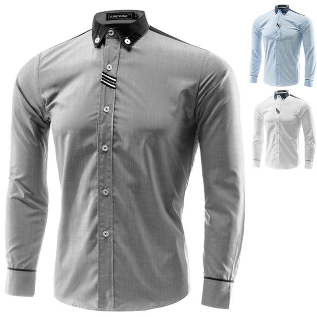 Весной 2015 из новой мужской модной ленты рубашка рубашки 8098 M-4XL