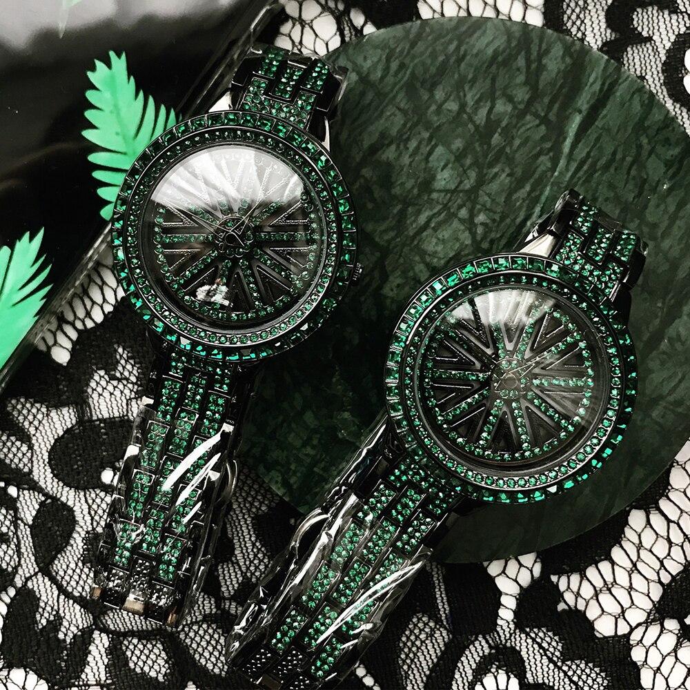 2019 Marque De Luxe Femmes Montres À Quartz Vert Cristal Montre-Bracelet Dames Strass Horloge Pour Femme Relogio Feminino Élégant Saat