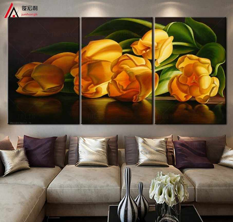 pop Gold color tulips decoration wall pictures for living room modular paintings on the wall art modern flowers abstract print