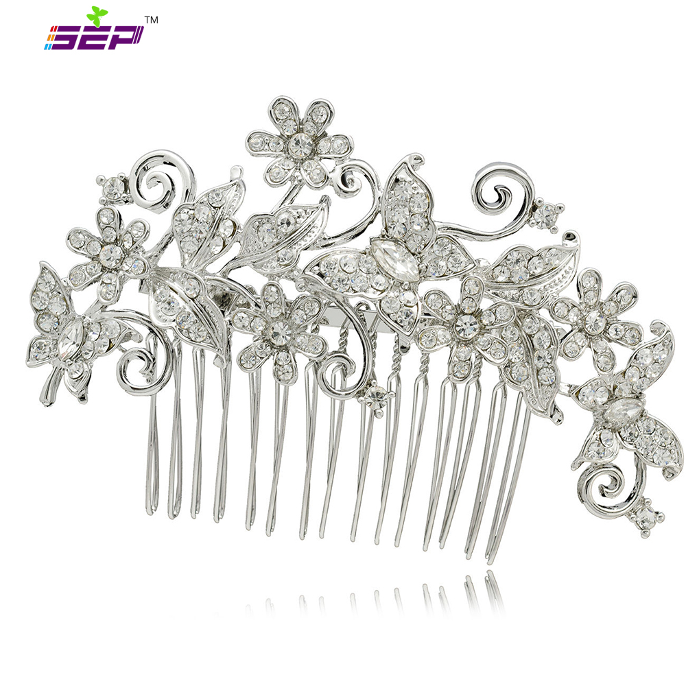 Zinc Alloy Animal Butterfly Flower Rhinestone Crystals Hair Combs Hairpin Women Wedding Jewelry Bridal Accessories 3238 - SEP store