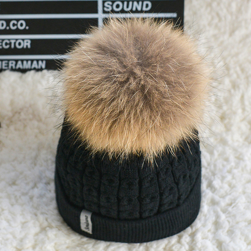 Inside velvet  winter beanies hat for women knitted wool Skullies casual cap with real raccoon fox fur pompom  ski gorros cap winter fur hat for women knitted rex raccoon fur hat berets cap for woman with fox fur flower top free size casual women s hat