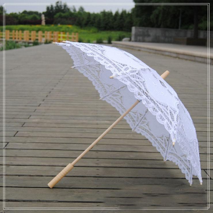 Элегантный кружевной зонтик из хлопка с вышивкой цвета слоновой кости; кружевной зонтик; Свадебный зонтик