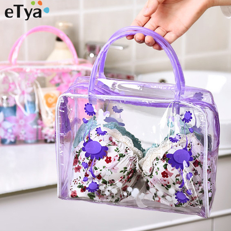 ETya Women Flower PVC Transparent Cosmetic Bag Fashion Girl Travel Make Up Toiletry Bags Makeup Organizer Case Tote Bag