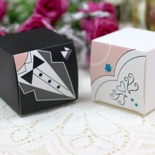 100 Pieces Bride and Groom Wedding CANDY Boxes favor Gift box decoracao fiesta Love souvenirs Gifts for guests marriage love and marriage