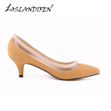 LOSLANDIFEN New Matte Shoe Women Pointed Toe Red Bottom Low Heel Pump Lady Single Ol Work Career Spring Fall Shoes 678-2SUEDE