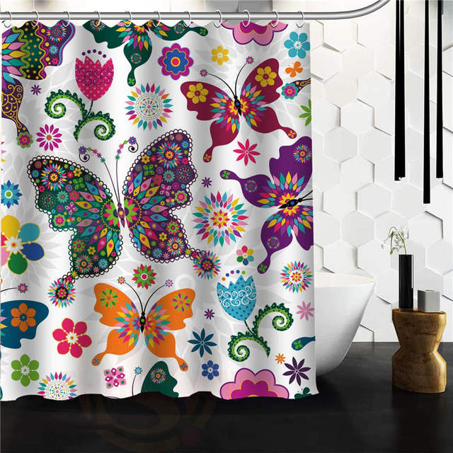 Vogue Waterproof Polyester Bathroom Curtain Custom Simple And Nature Cute  Butterfly Shower Curtain 66x72 60x72 48x72