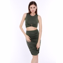Two Piece Outfits Cotton Sleeveless Bandage Dress