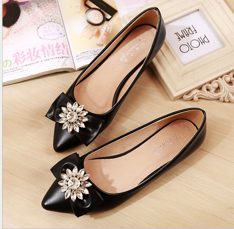 Women Flats shallow mouth Women's flat shoes Bowknot is square Big yards for women shoes Free shipping Plus size:33-43