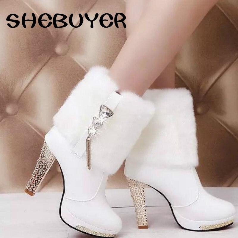 Negro Tacones Mujeres Negro Piel blanco Sexy Elegante Botas Tobillo Blanco Bomba Mujer Altos Cortas 2017 Zapatos Damas Boda Calienta Rhinestone qU14IFwnA