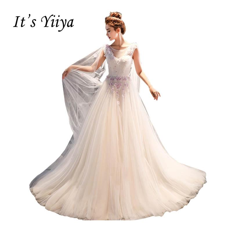 It's Yiiya Illusion Tulle Shawl Trailing Wedding Dresses