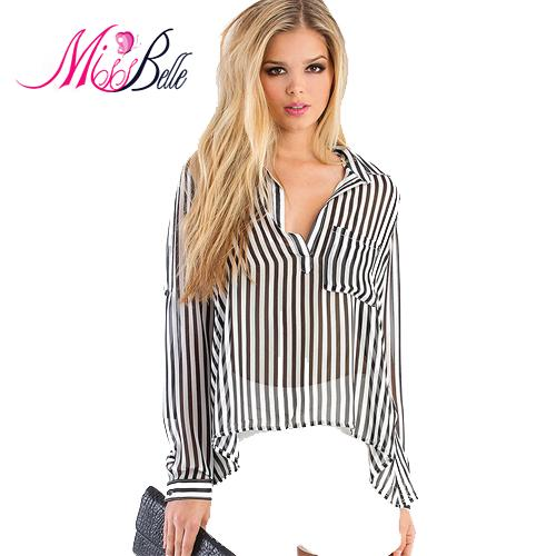 a8adf7180 Miss Belle 2015 Western Loose Casual Black White Striped Shirt Women  Blouses Long Sleeve Sheer Chiffon Blouse Plus Size Blusas