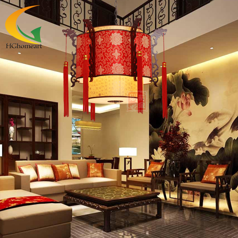 Chinese Lanterns Red Pendant Light Antique Wooden Led Lights Hotel Lamp Living Room Restaurant