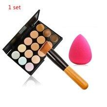 1set Professional Cosmetic 15 Colors contour Palette Face Cream Makeup Concealer Palette Set Tools Powder + Brush Hot Selling B#