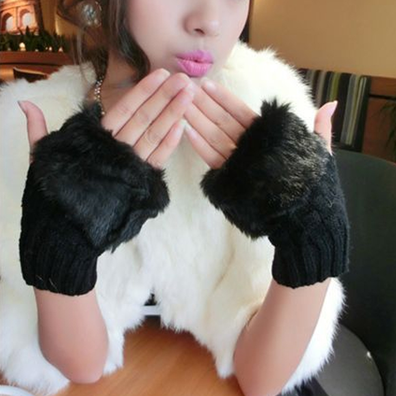 1Pair Fashion Women Winter Knitted Fur Fingerless Gloves Warm Woolen Solid Color Cute Pompom Gloves