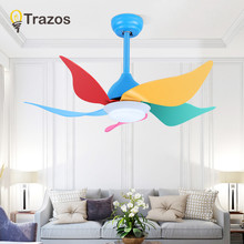 TRAZOS Led Ceiling Fan With Lights For Children Room Ventilador De Teto 220Volt Ceiling Fans Lamp Bedroom Cooling Fan Lighting(China)