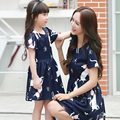 New 2016 Family Matching Clothing Dresses For Girls And Mother bule Girl Dress Family Matching Mother Daughter Clothes