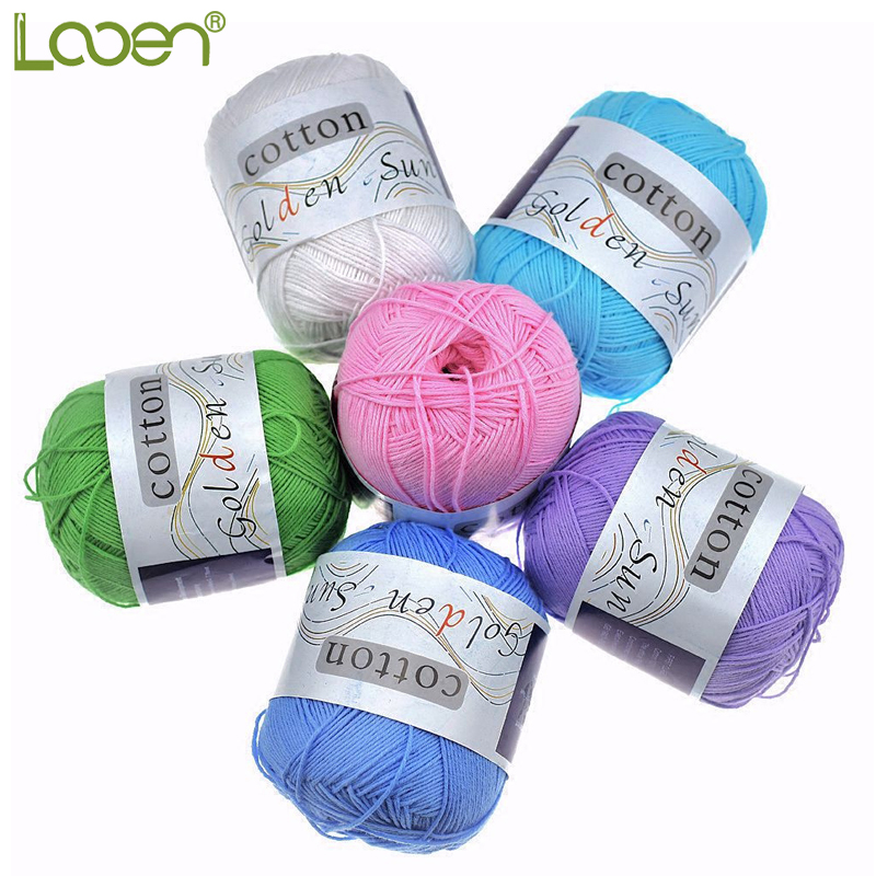300g/Lot 6 Ball Lotus Yarns Pure Baby 100% Cotton Yarn Worsted Eco-Friendly Dyed Crochet Yarn For Knitting Garn Laine A Tricoter