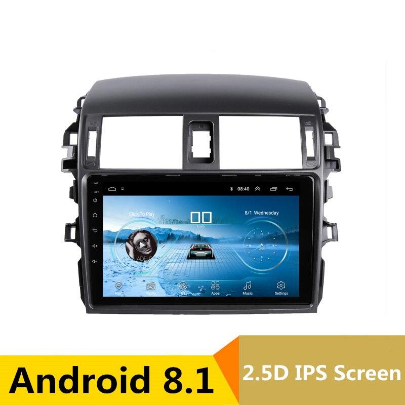 2.5D IPS Android 8.1 dvd de voiture lecteur multimédia GPS Pour Toyota Corolla 2007 2008 2009 2010 2011 audio autoradio stéréo navigation